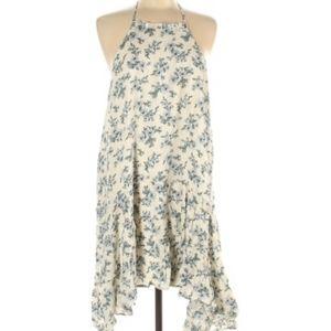 Entro Ivory Blue Floral Print Lace Back Mini Dress